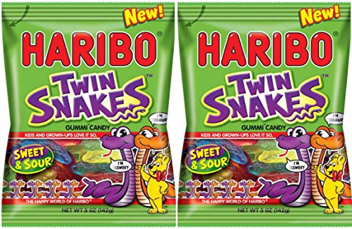 Haribo Twin Snakes Sweet & Sour Gummi Candy - NEW 2016 - 5 oz Bag (Pack of 2)