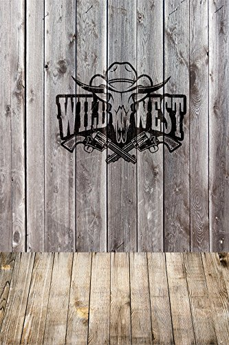 OFILA Wild West Backdrop 3x5ft Cowboy Theme Party Decoration Vintage Plank Floordrop Westward Movement History US Culture Western Party Background Kids Birthday Toddlers Boys Shoots Video ()