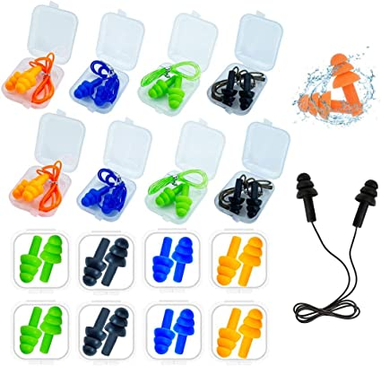 Reusable Silicone Ear Plugs ANBOW Waterproof Noise Reduction Earplugs for Slee