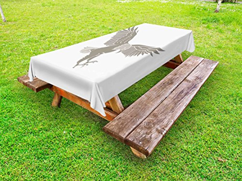 Lunarable Eagle Outdoor Tablecloth, Bald American Avian Animal Symbol of Freedom an Liberty of USA National Bird, Decorative Washable Picnic Table Cloth, 58 X 104 inches, Grey and Pale Grey by Lunarable