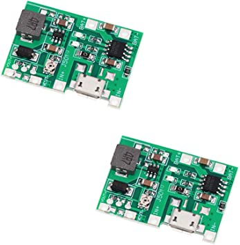 2pcs Micro USB 3.7V Lithium Li-ion 18650 Battery Charger Module Boost Step Up B