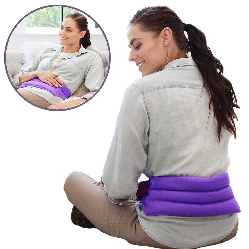 My Heating Pad for Cramps and Lower Back Pain Relief with Full Body Strap | Perfect Microwave Heating Pad for Sore Muscles, Stress Relief, and Relaxation | American Made Hot Packs for Pain (Purple)