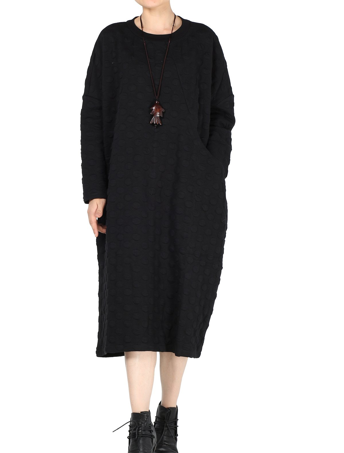 Mordenmiss Women's Loose Fit Basic Solid Pullover Tops Dresses Style 5-L-Black B-2-A3-18