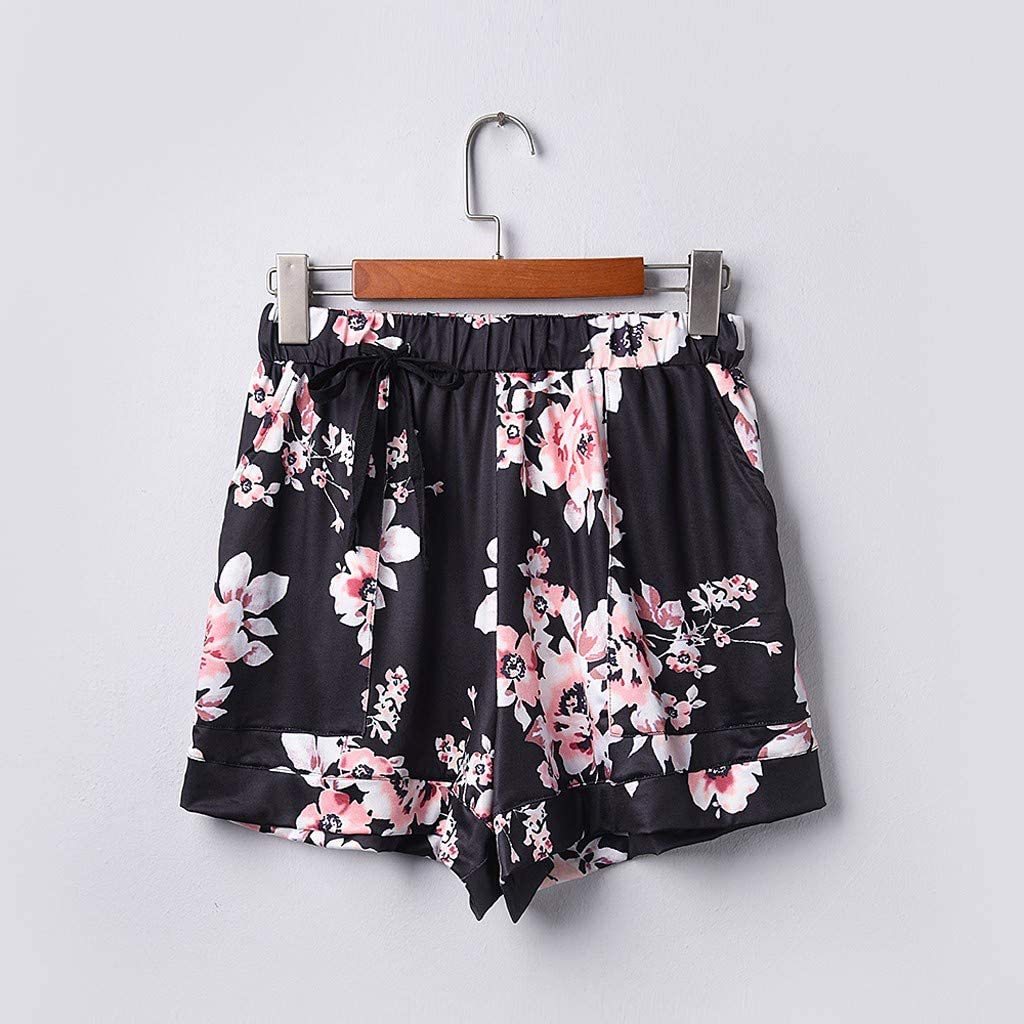 Smileyth Womens Fashion Printed Shorts Casual Comfy Drawstring Elastic Waist Loose Wide Leg Pants with Pockets
