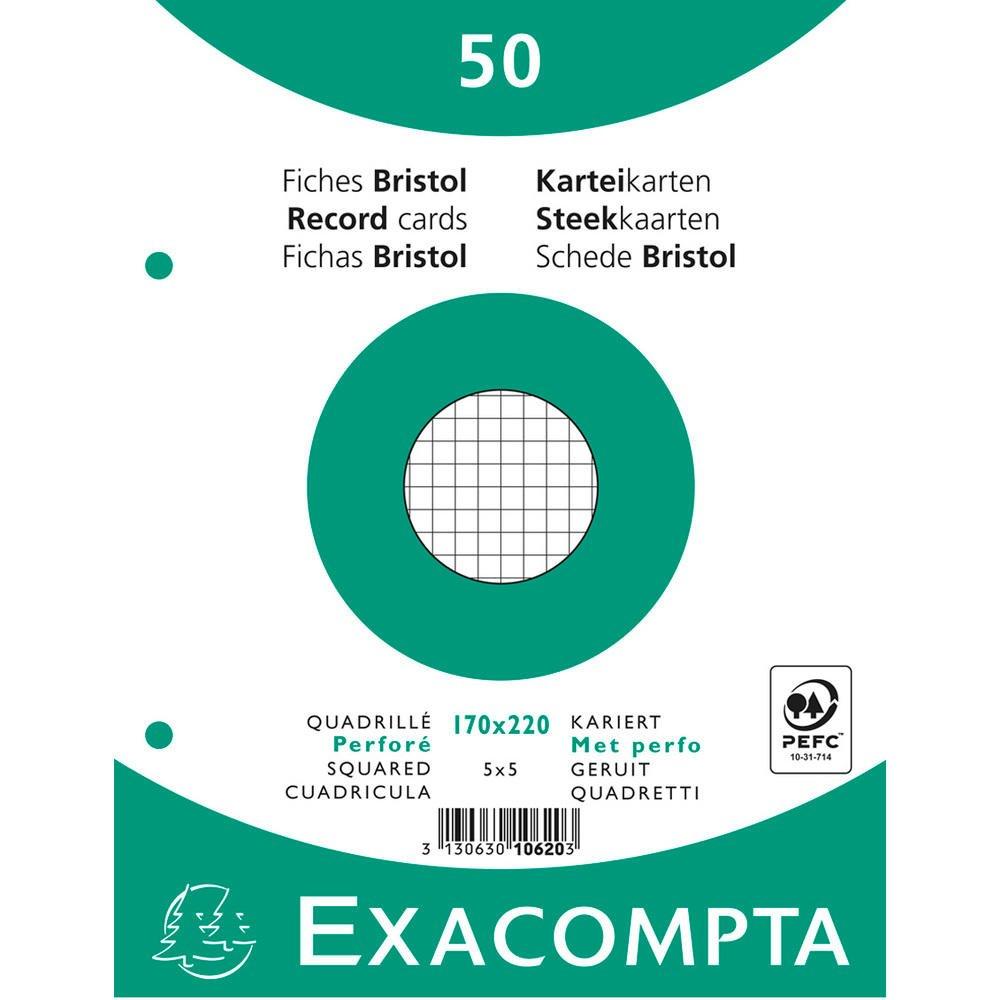 Exacompta 10620E Cartoncini Bristol, 17x22 cm, Bianco