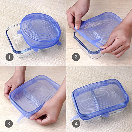 Silicone Stretch Lids , Reusable Durable Bowl Covers BPA Free FDA Approved for Keeping Food Fresh Dishwasher Oven Microwave Freezer Safe, 6-Pack of Various Sizes (Blue)