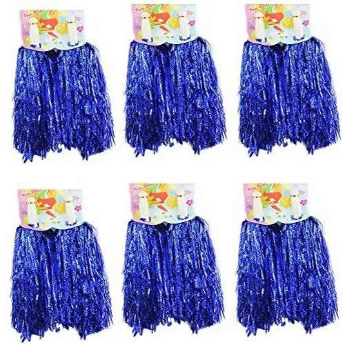 CRIVERS 12pc Cheerleading Pom Poms,Cheerleader Pompoms for Ball Dance Fancy Dress Night Party Sports (Blue,30g)