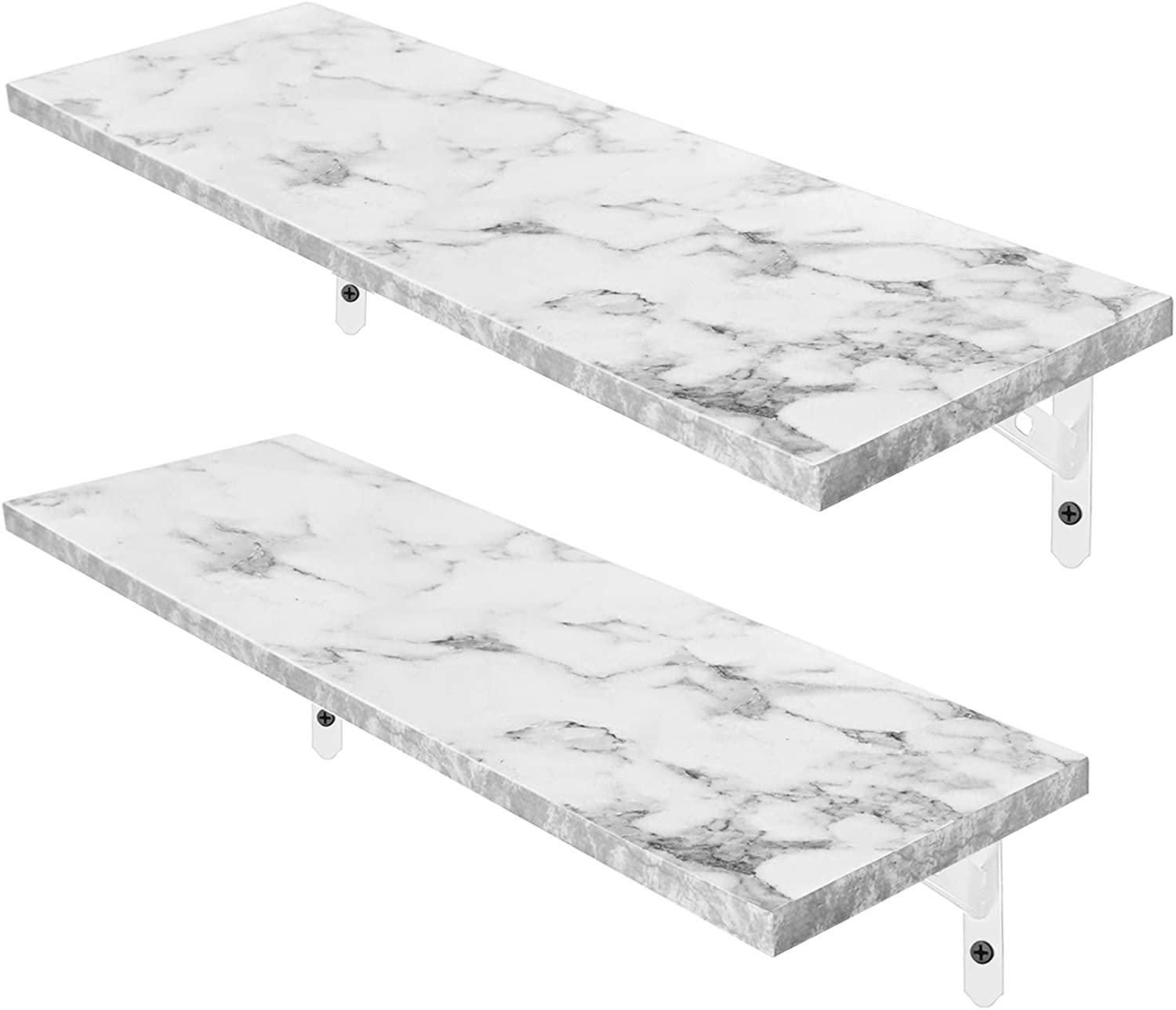 Magicfly Wall Mounted Marble Floating Shelves, Waterproof Long White Wood Shelf, Display Ledge Large Storage Shelves for Bedroom, Bathroom, Kitchen, Home Décor, Set of 2