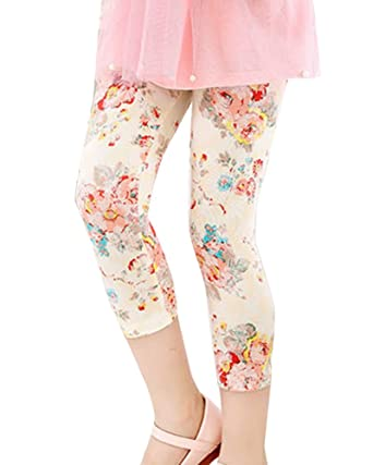 3e723cf9592d1 Baby Girls Kids Floral Print Cropped Leggings Summer Trousers Childrens  Capri Pencil Pants Beige Lace 110: Amazon.co.uk: Clothing