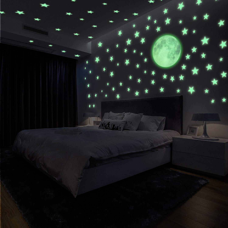 222 Sticker Sterne und Mond fluoreszierend Wandaufkleber Leuchtstoff Aufkleber F/ür Kinderzimmer Zimmer Home Dekorative Aufkleber Yosemy Wandsticker Leuchtaufkleber