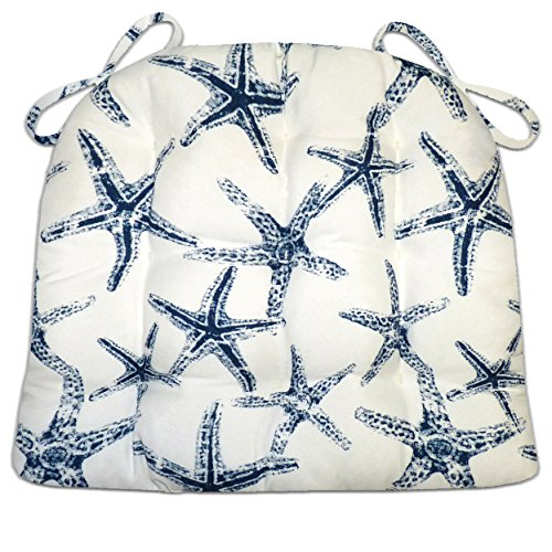 Barnett Products Sea Shore Starfish Navy Blue Indoor/Outdoor Dining Chair Pads - Latex Foam Filled Cushion, Machine Washable, Made in USA, Reverses to SS Starfish Navy Blue (Cushion Starfish)