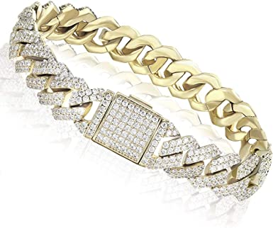 ICED OUT HIP HOP Armband CUBAN LINK ICE 12mm gold