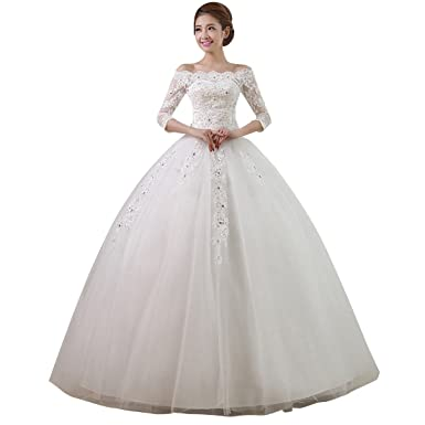 a7e8a1ec949 Shangshiyu Women s Lace Embroidery Off-the-shoulder Half Sleeves Crystal  Long Tail A-line Long Wedding Dress at Amazon Women s Clothing store