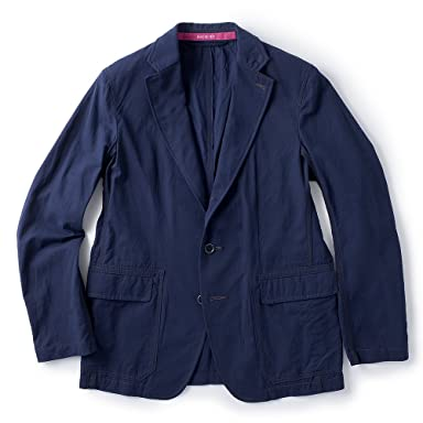 Sage de Cret Salt Shrunk Hard Twisted Cotton Jacket: Navy