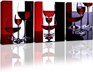 Gardenia Art - Wine Canvas Paintings Wall Art Pictures Abstract Wine Glass in Red Black White for Kitchen Bedroom Living Rommg Decoration, 12x16 inch per Piece, 3 Pieces per Set