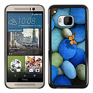 LECELL -- Funda protectora / Cubierta / Piel For HTC One M9 -- Pebbles Stones & Butterfly --