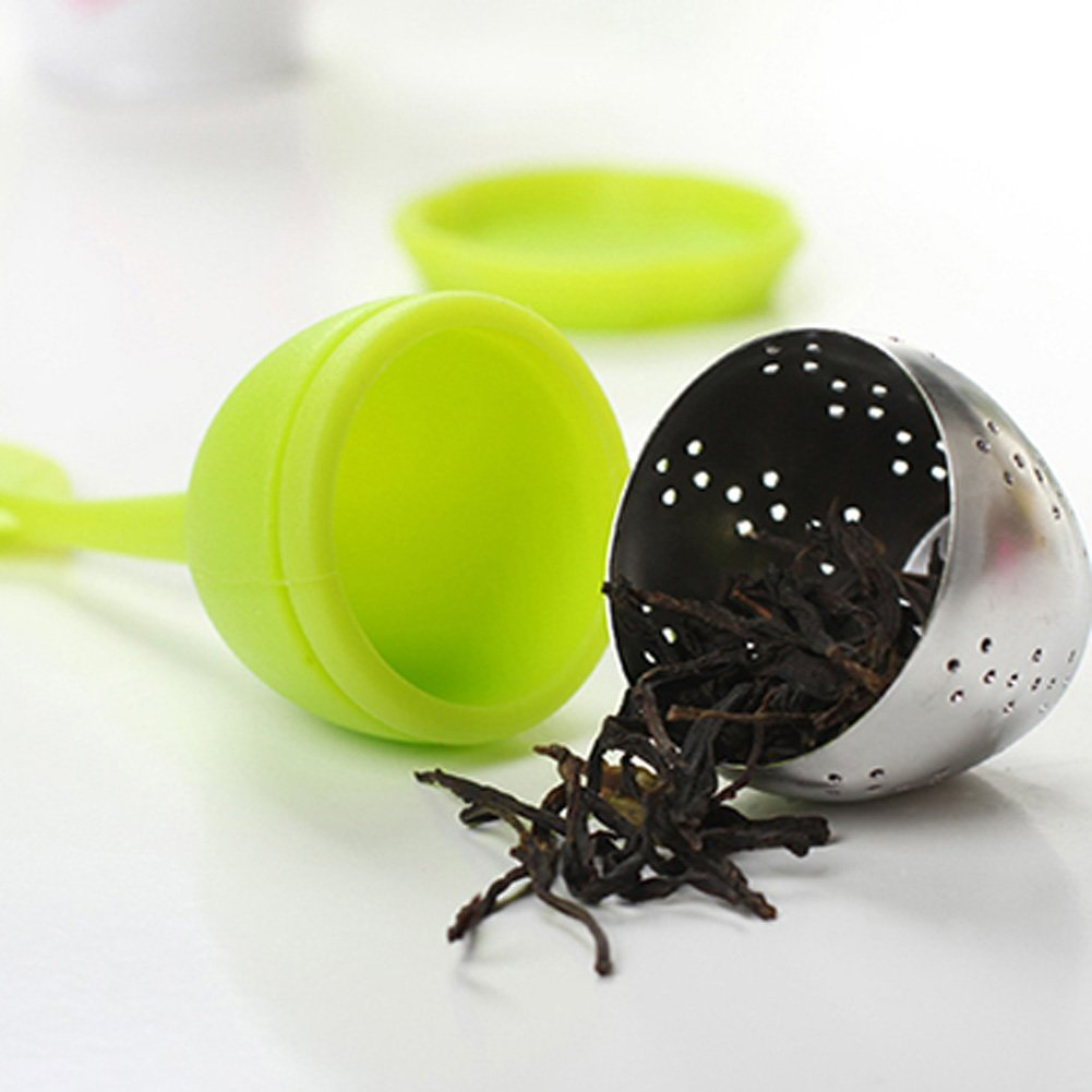 Funnytoday365 Kitchen Tea Tools Leaf Green Tea Infuser With Drip Tray Silicone Strainer For Herbal Puer Spice Filter Tools Kitchen Drinkware by FunnyToday365 (Image #5)