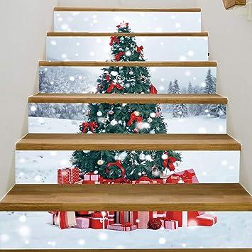 3D Navidad Escaleras Pegatinas, DIY Árbol De Navidad Restaurado Casa Hogar Renovación Cocina Creativa Auto-Adhesivo Etiqueta De La Pared: Amazon.es: Hogar