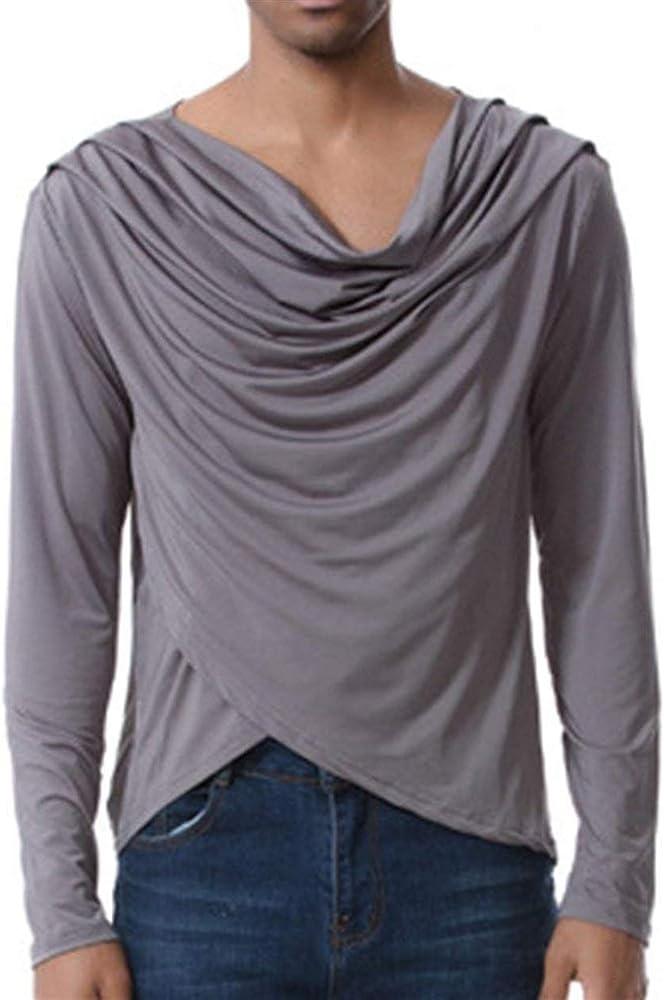 Camisa De Cuello Elegante para con Blusa Larga Hombre Simple Estilo Tops De Diseño Especial Camisetas con Corte Ajustado Camisa Irregular De Manga Larga Tops (Color : Grau, Size : S): Amazon.es:
