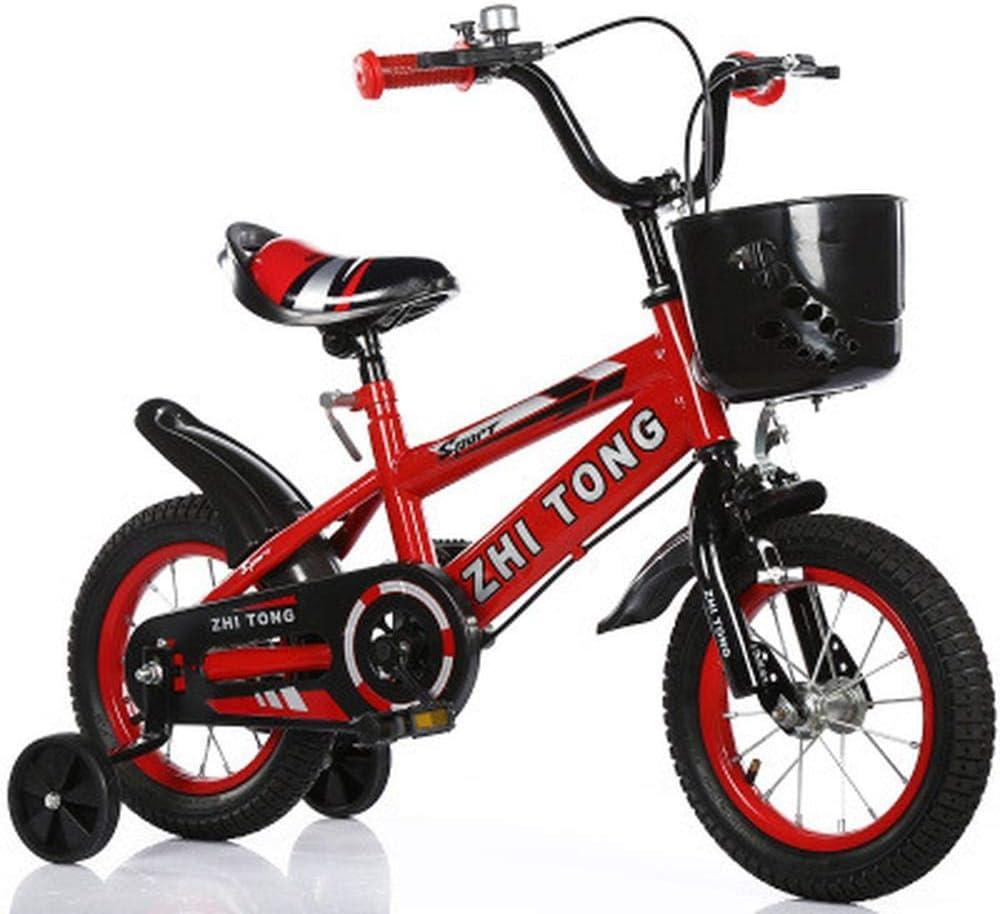 XiangYu Bicicleta para Niños,Sistema de Freno de Disco Doble,Sillín Ajustable Manillar + Riel Auxiliar Antideslizante + Hervidor + Asiento Trasero + Cesta + Regalos Red-a-14inch: Amazon.es: Deportes y aire libre