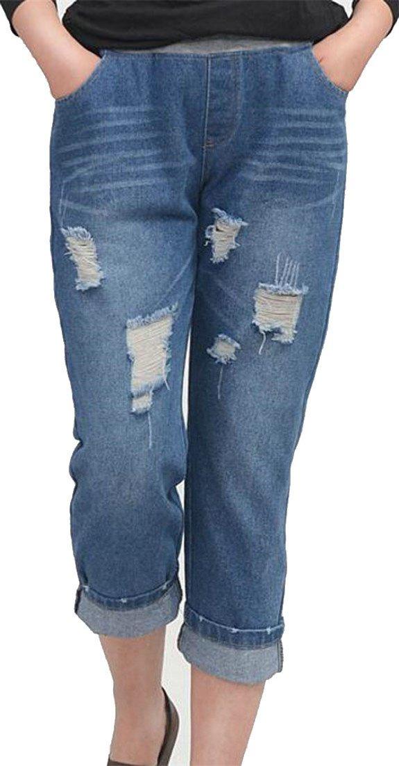 Etecredpow Womens Summer Washed Distressed Elastic Waist Denim Capri Jeans Blue Medium