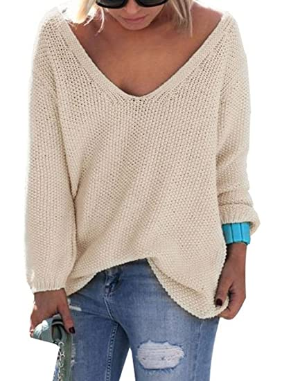 576666e35f Nulibenna Womens Solid V Neck Knitted Pullover Long Sleeve Loose Fit ...