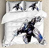 Twin Size Hockey 3 PCS Duvet Cover Set, Goalkeeper in Hand Drawn Style with Protective Gear in a Competitive Game, Bedding Set Quilt Bedspread for Children/Teens/Adults/Kids, Purple Black White