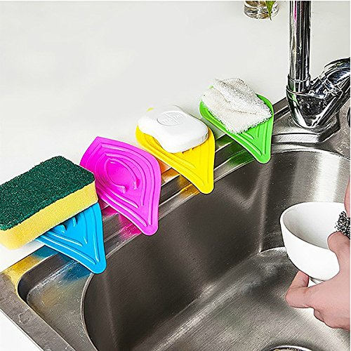 Leaf Shape Bathroom Anti Skip Soap Dish Waterproof Sponge Holder Rack(Random: Color)