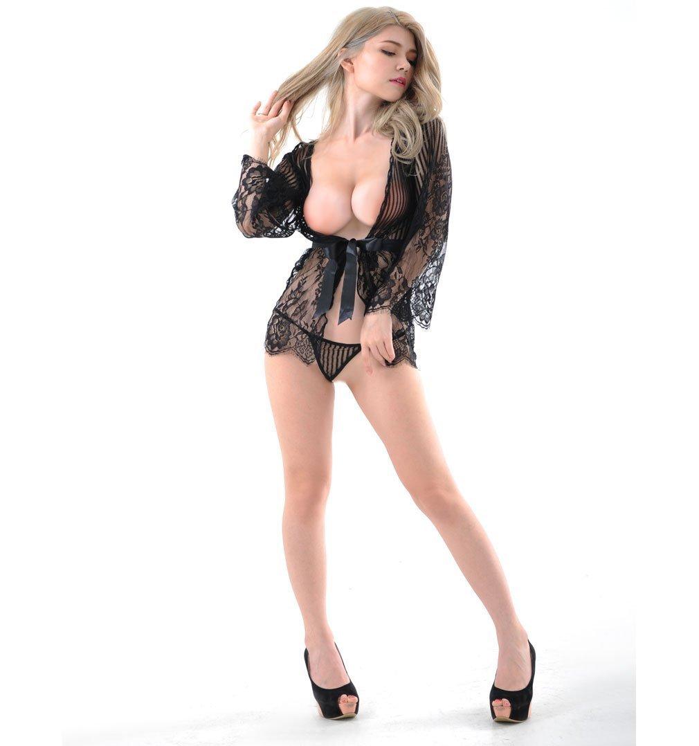 CRMM Mujer Lencería Sexy Encaje Chal Y Tanga Ropa Ropa Tanga Interior Erótica Negro/Blanco (Un Tamaño),Black 99774e