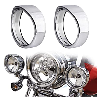 NTHREEAUTO Passing Lamp Trim Rings, 4.5 Inch Fog Lights Visor Chrome Bezel Compatible with Harley Touring, Road King, Softail, Street Glide, Sportster, Electra Glide: Automotive