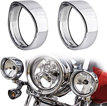 Visor Style 7in 4.5 Passing Lamp and Turn Signal Trim Rings For Harley Touring Road King Softail Headlamp Trim Ring Glossy Black