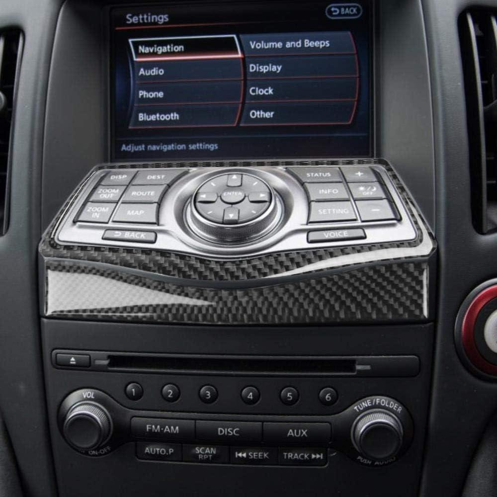 GHDBHFD for Nissan 370z z34 2009-2020 Carbon Fiber 2Pcs Zentrum Dashbord Navigationssteuerung Aufklebertastenset Rahmenabdeckung Trim Zubeh/ör