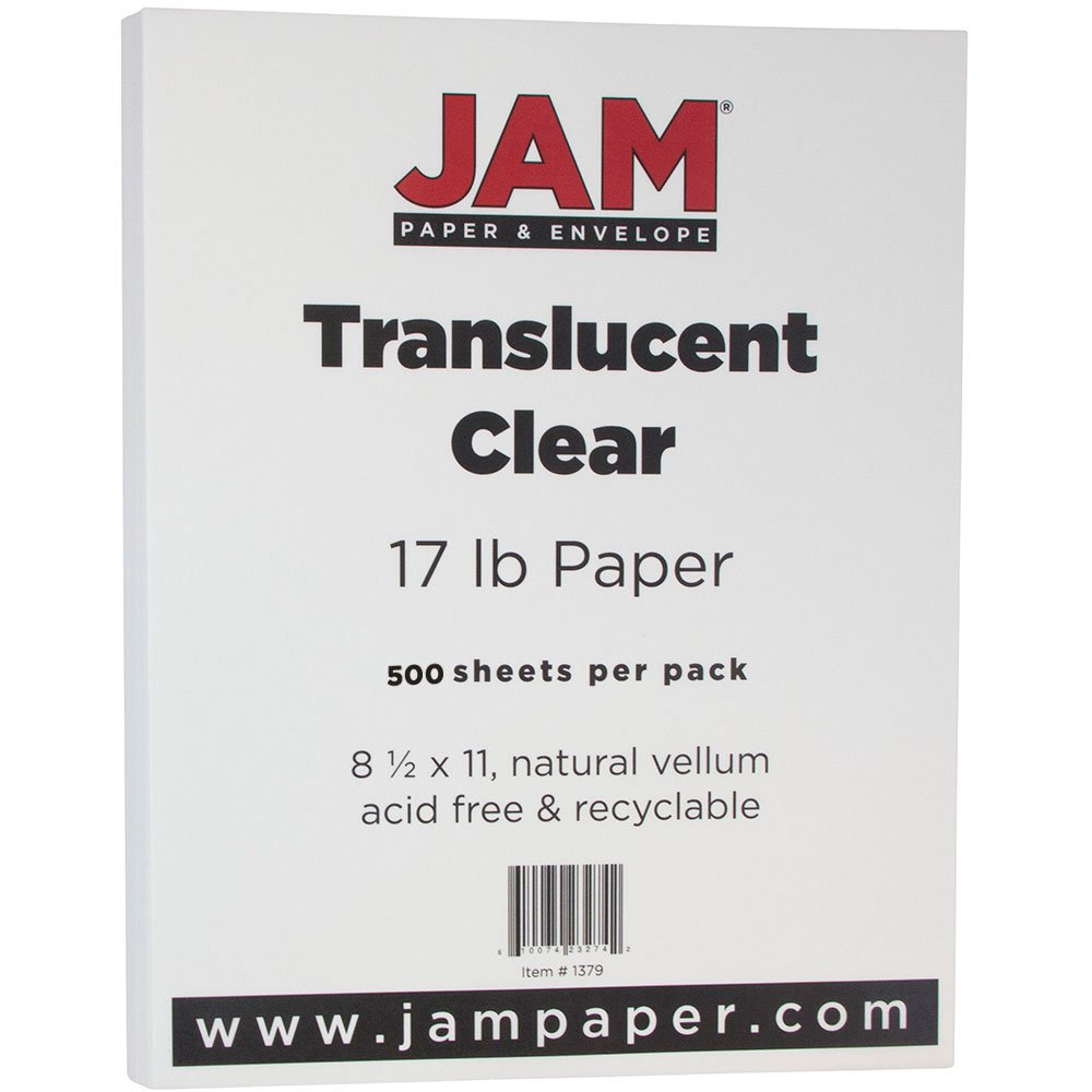 JAM PAPER Translucent Vellum 17lb Paper - 8.5 x 11 Letter - Clear - 500 Sheets/Ream
