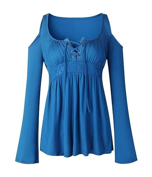 74ce280a7d74c6 Women s Cold Shoulder Tunic Long Sleeve T-Shirts Lace Patchwork Loose Fit Blouse  Tops Blue