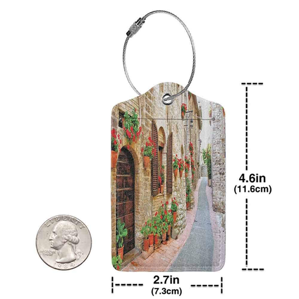 Printed luggage tag Tuscan Decor Collection Porch Decorated with Flowers and Stone Roads in Small Town in Italy Photo Protect personal privacy Peru Red Ecru W2.7 x L4.6