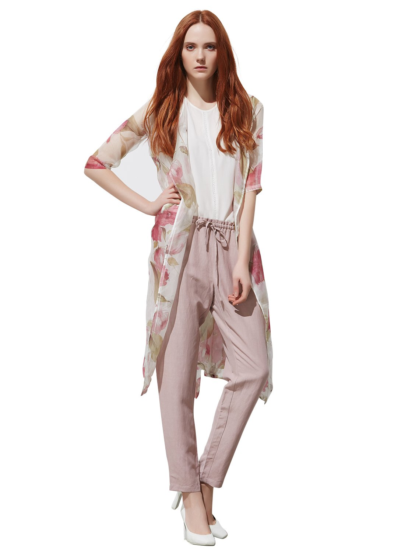 METTE Women's 100% Silk Floral Chiffon Kimono Cardigan Blouse Cover Up