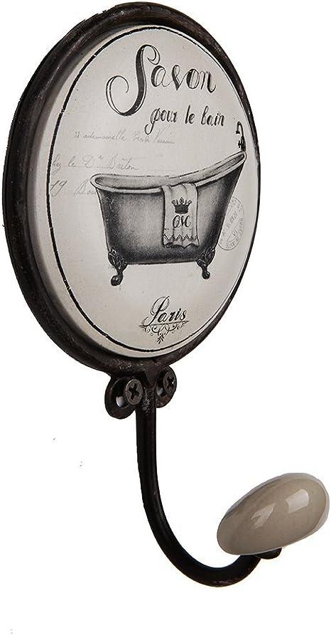 A Gancho de pared para abrigo Nikky Home toallero para ba/ño perchero para sombrero de estilo retro vintage con soporte de metal y cer/ámica de color blanco