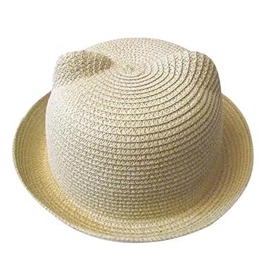 POachers Bonnets Oreilles de Chats été Casquettes Enfants Unisex Bebe  Chapeau Fille Garçon Chapeaux (Beige 3a2242a0e85