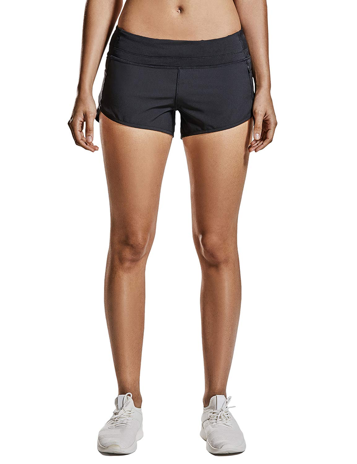 CRZ YOGA Womens Drawstring Fitness Athletic Sports Running Shorts with Pocket 4 inch