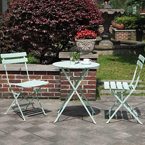 Grand Patio Premium Steel Patio Bistro Set, Folding Outdoor Patio Furniture Sets, 3 Piece Patio Set of Foldable Patio Table and Chairs, Macaron Blue (Cheap Bistro Set)