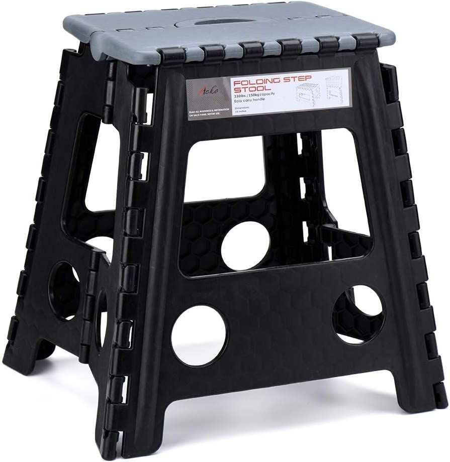 Acko 16 Inches Folding Step Stool for Adults.Kitchen and Garden Step Stool Black Matching Grey Color (Black+Grey)