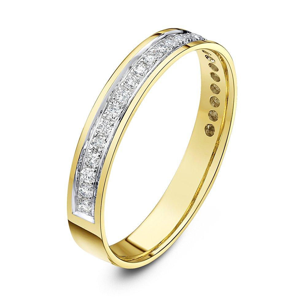 Theia Anillo Eternity de Oro Amarillo o Oro Blanco, 9K, Forma de Corte, con Montura en Empedrado de Diamante de 0,25 kilates, de 3.5mm: Amazon.es: Joyería