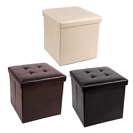 REDCAMP 15 55L Faux Leather Storage Ottoman Cube, Folding Small Ottoman Foot Rest for Bedroom Dorm Sofa, Black