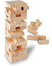 51 Piece Wooden Block Tower Game Stacking Tumbling Tower Game