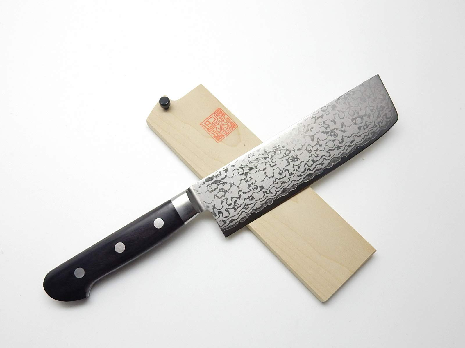 Yoshihiro VG-10 Gold Damascus, HRB Japanese Chef's Usuba(Vegetable) Knife 160mm/6.3'', with Wooden Saya Cover & Saya Pin