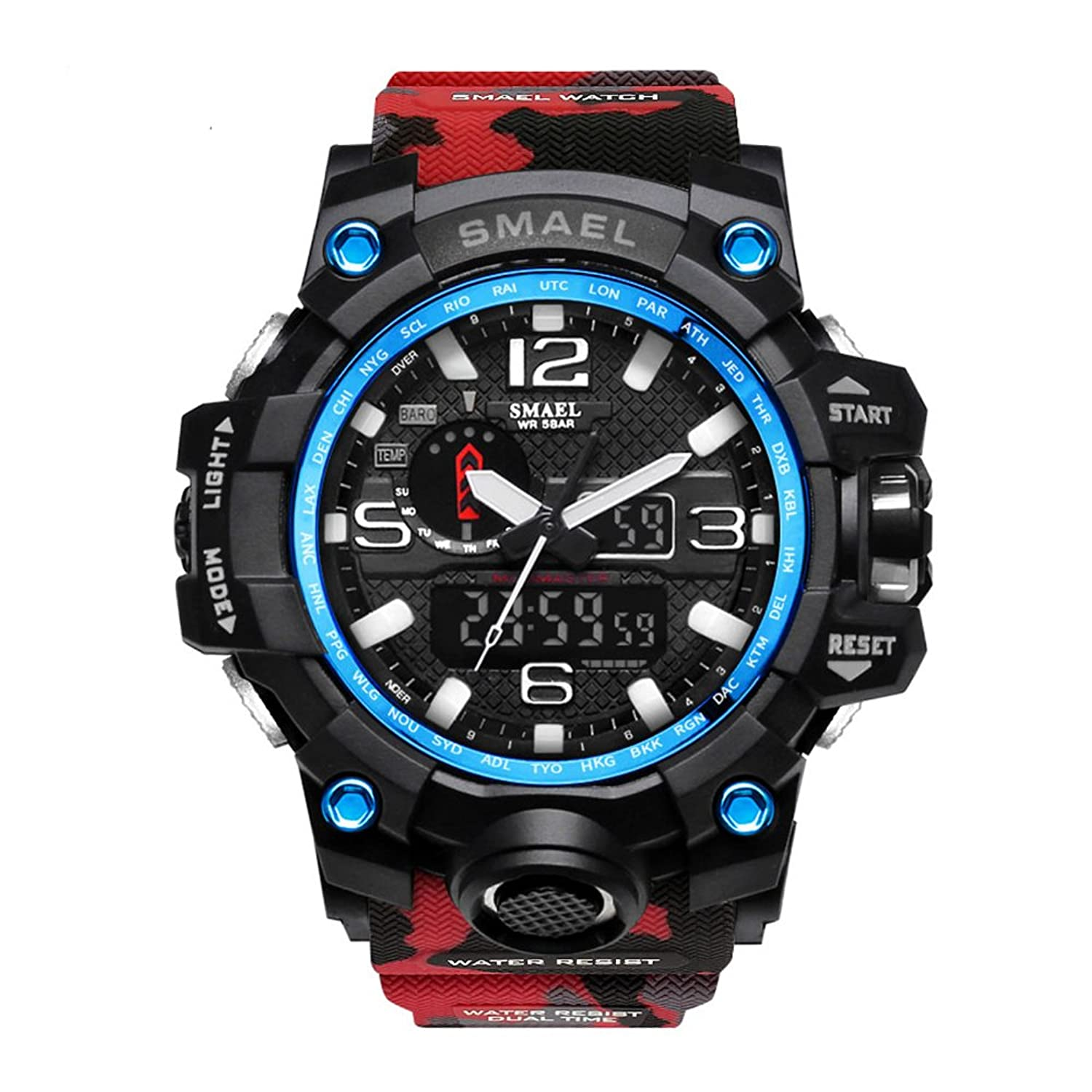 Amazon.com: Men Digital Watch Large Electronic Wristwatch Stopwatch Red Camo: Watches
