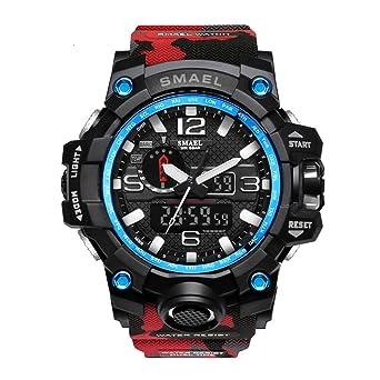 Men Digital Watch Large Electronic Wristwatch Stopwatch Red Camo