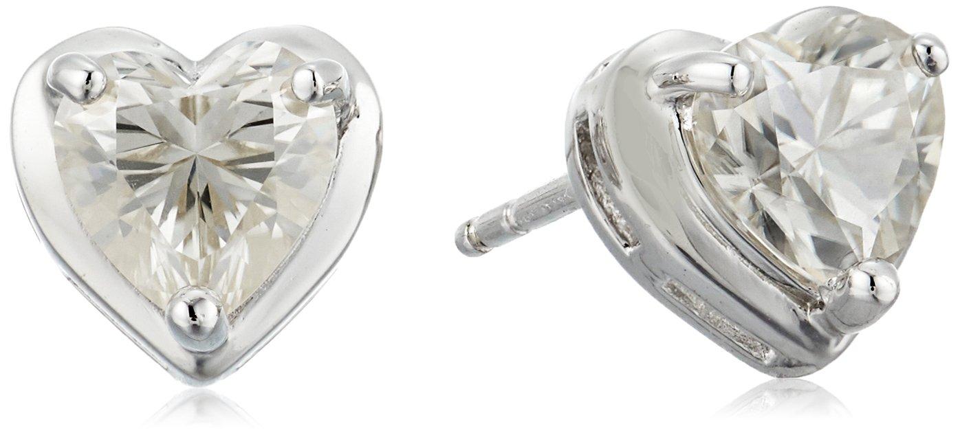 Platinum Over Sterling Silver Moissanite Heart Stud Earrings