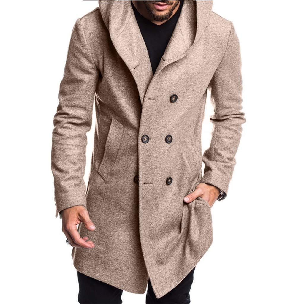 Winter Cardigan Sweaters and Buttons Jackets Casual with Hood 3XL OMINA Mens Wool Overcoat Black Slim Fit