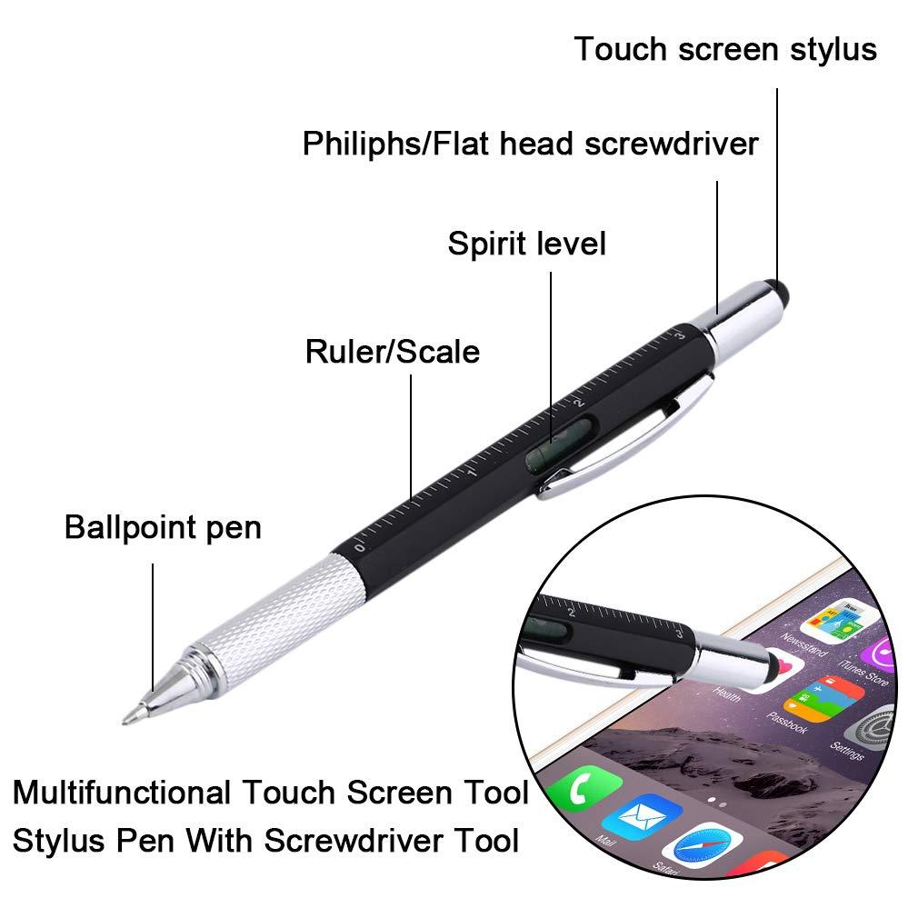 Ndier 6in 1multifunzionale utensile per touch screen Stylus pen con cacciaviti ufficio lavoro penna a sfera, nero